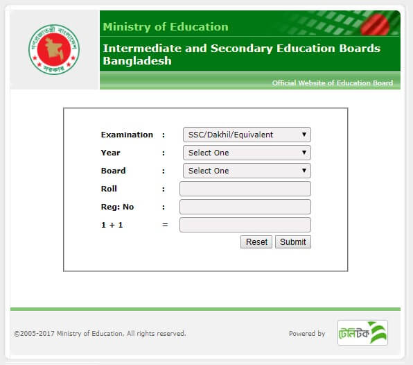 Education Board Results official website