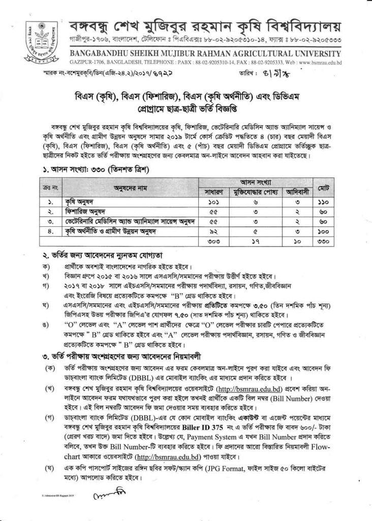 Bangabandhu Mujibur Rahman Agricultural University BSMRAU Admission Circular Notice Page 1