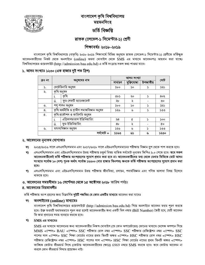 Bangladesh Agricultural University BAU Admission Circular Page 1