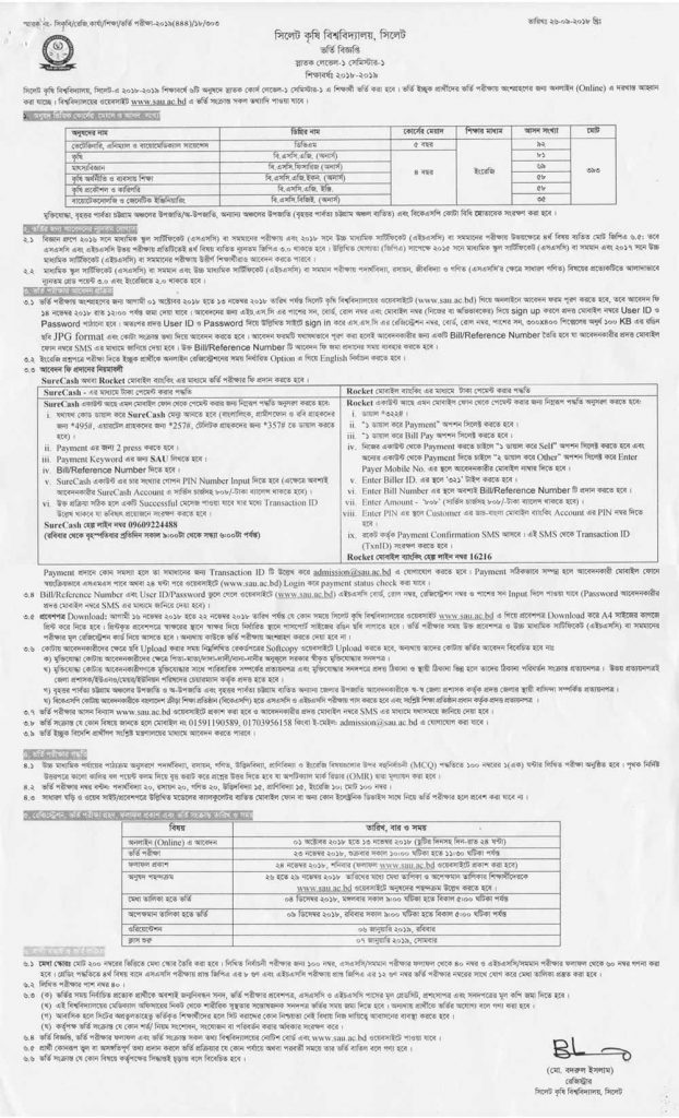 sylhet agricultural university admission notice Bangla