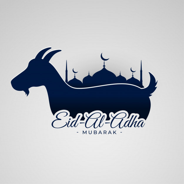 Eid al adha mubarak background with goat mosque