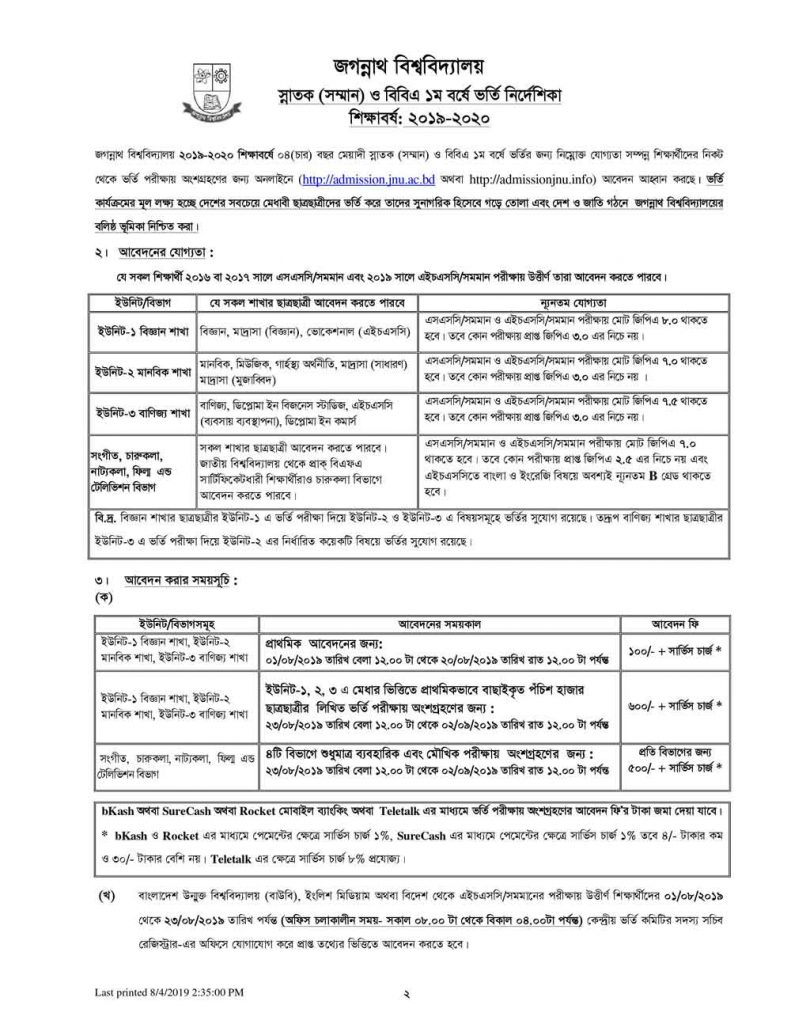 Jagannath University Admission 2019 2020 Prospectus Page 2