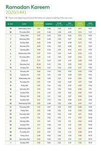 Ramadan Timetable 2020 for USA